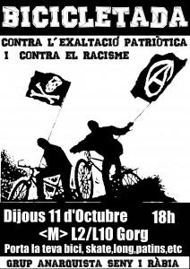 """Activitats:""""Bicicletada contra l'exaltació patriòtica i el racisme"""""""