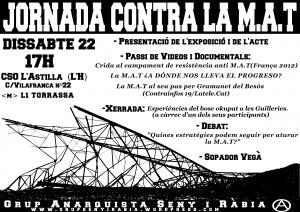"""Activitats/campanyes: """"Jornada contra la M.A.T"""""""
