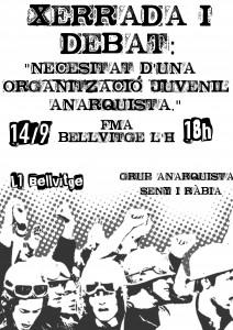 """Activitats: Xerrada-Debat """"Necessitat d'una organització juvenil anarquista"""""""